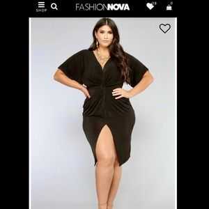 2/$55 Fashion Nova Full Grown Knot Dress in Black